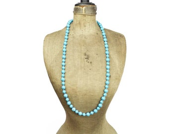 Vintage Long Turquoise Bead Necklace, Turquoise Necklace, Blue Bead Necklace, Long Blue Necklace