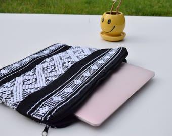"""Handwoven, Laptop Case, 14"""" Computer Carrying Case, Black & White, Boho, Cotton, Diamond , Fair Trade, Artisan Made"""