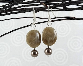 Michigan Petoskey stone and Swarovski pearl dangle earrings with sterling silver ear wires E0945