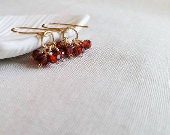 Gold Garnet Cluster Drops: 14k Gold Fill Wrapped Genuine Faceted Garnet Petite Gemstone Drops January Birthstone Gift Crimson Garnet Drops
