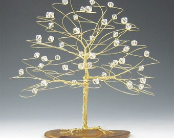Winter Wedding Cake Topper Tree Cake Topper in Gold wire with Clear Swarovski Crystal Elements - 6 x 6 Large