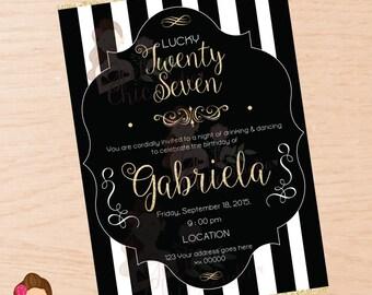 Adult invitation, adult birthday, birthday invitation, gold, glitter invitation, elegant invitation, printable adult invitation, 27th,
