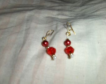 Glass Pearls Shades of Red and Pink earrings - Part 2