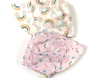 UB2 BELIEVE unicorn rainbows rainbow star magical magic clouds pink baby shower summer infant baby toddler sun hat, Urban Baby Bonnets