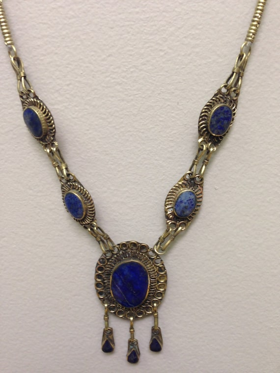 Necklace Middle Eastern Blue Lapis Necklace Handmade Blue Lapis Teardrop Pendants Silver Kuchi Tribe Gift for Her Tribal Jewelry Necklace