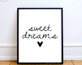 Sweet dreams print, Girl room decor, Typography print, Black and white Printable quotes, nursery art, modern decor  #0031B