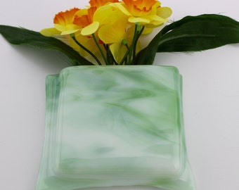 Green and white glass hanging notepad holder - Green and white glass hanging flower vase - Green and white glass pen and paper holder