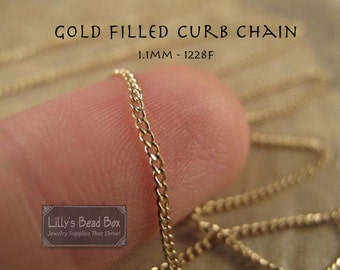 Fine Gold Chain, By The Foot, 14/20 Gold Filled 1.1mm Curb Chain, Small Chain for Necklace, Bracelet, Jewelry Making (1228f)