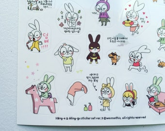 Rabbit Stickers, Kawaii Planner Stickers, Diary Stickers, Scrapbooking Stickers, Card Embellishment, Filofax Stickers, Korean Deco Stickers
