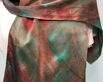Green and Golden Brown Silk Charmeuse Scarf