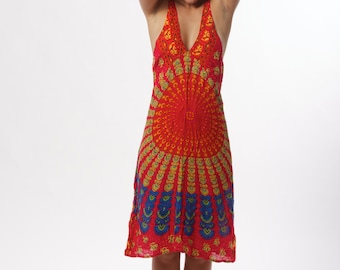 Ladies Medium Pink Blue Indian Mandala Boho Hippy Gypsy Dress