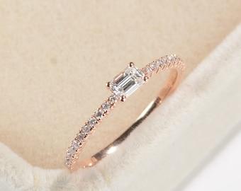 Baguette engagement ring rose gold Diamond engagement ring Vintage wedding women Half eternity bridal set Dainty Promise Anniversary gift