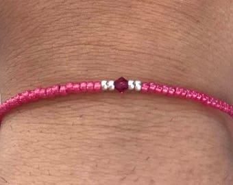 Fuchsia Swarovski/miyuki bracelet, Swarovski bracelet, miyuki bracelet, pink bracelet, fuchsia bracelet, Christmas present, boho bracelet