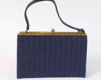Vintage Blue Clutch - 1960s Blue Evening Clutch Purse by Block