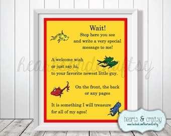 Baby Shower Guest Book Sign - One Fish Two Fish Red Fish Blue Fish - Cat in the Hat  - FILE to PRINT DIY
