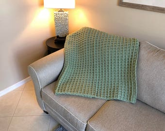 Pale Green Shadow Box Pattern Afghan