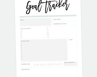 Printable Goal Tracker, Resolution Planner, Habit Tracker, Goal Digger, Printable Goal Tracker, Printable Planner Sheets