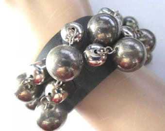 Retro Dangling Silver Ball Black Leather like non-leather Band Cuff Bracelet punky Edgy EMO Bracelet