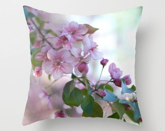 Spring Decorative Throw Pillow Covers, Pink Floral Photo Cushion Case, Handmade Birthday Gift, French Country Chic, Botanical Art Decor