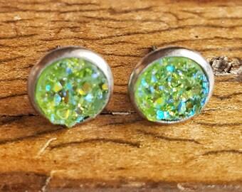 Druzy Earrings, Stud Earrings, Post Earrings, Green Earrings, Druzy Jewelry, Druzy Studs, Faux Druzy Earrings, Sparkly Earrings, Gift Idea