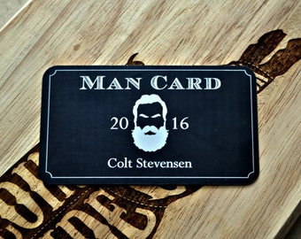 Man Card Personalized Metal Wallet Card, 21st Birthday, Bachelor, Groomsman Becoming a Real Man Lumberjack