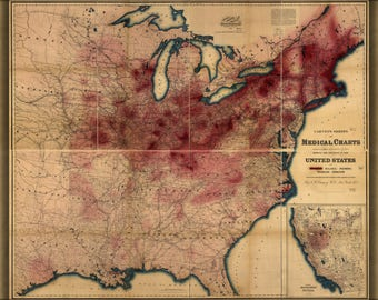 Poster, Many Sizes Available; Map Of Phthisis Or Tuberculosis In United States Of America 1874