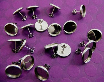 20 Pcs Stainless Steel Earring Posts And  Butterfly Earnuts  (12mm Tray)- Size: 14mm Diameter, 12mm Inner Tray Diameter, Pin 1mm EAR013