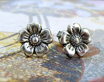 Antique Silver Cherry Blossom post earrings