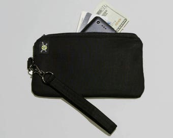 Plain All Black Phone Wristlet Purse, Fabric Clutch, Zipper Pouch, Detachable Strap, No Design, No Print, Small Zipper Purse