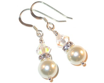 CLEAR AB & WHITE Pearl Earrings Sterling Silver Dangle Bridal Handcrafted Swarovski Elements