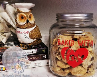 Baked with Love Cookie Jar Decal