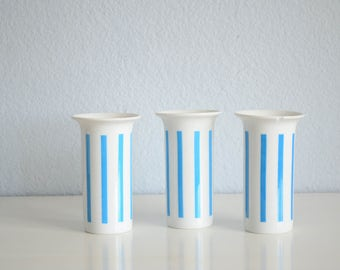 Three (3) Lagardo Tackett Schmid Porcelain Japan Cups White and Blue Stripes