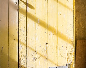 Irish Photography - Yellow Door Print - Northern Ireland Stately Home Art - Castle Coole Stables - Yellow Sunshine Photograph