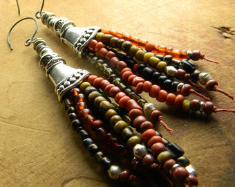 Tribal Earrings African Trade Beads Red Yellow Rust Fringe Pewter