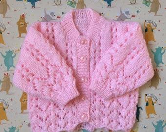 Handmade Baby Girls Pink Cardigan 3 - 6 months