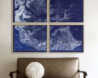"""Boston Harbor map 1923, XL nautical chart of Boston Harbor, MA up to 72x60"""" in 1 or 4 parts, also in Navy Blue - Limited Edition of 100"""