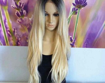 Ombre Dark Roots To Blonde 613 Lace top Wig Synthetic heat resistant straight