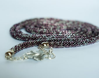 Seed Bead Lariat.Extra Long Beaded Necklace.Handmade Beadwork Rope.Seed beads jewelry.Elegant.Winter Fashion .Wrap necklace purple lilac