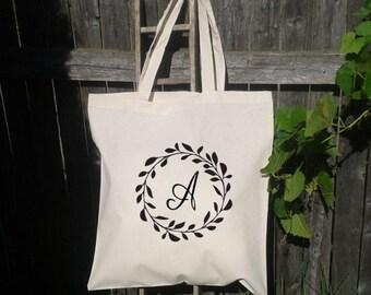 Wedding Tote Bag, Wreath Wedding Welcome Tote, Bridesmaid Tote Bag,  Flower Girl Tote Bag, Monogram Initial Bag