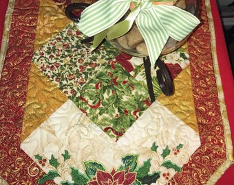 Gorgeous Embroidered Poinsettia Quilted Tablerunner -- Pieced, Quilted, Embroidered, Metallic Fabric, Poinsettia
