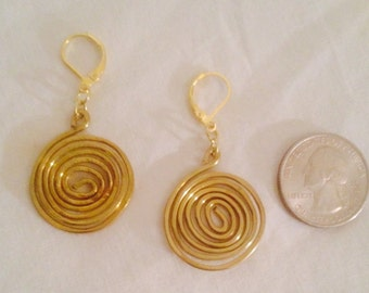 Brass Wire Spiral Earrings