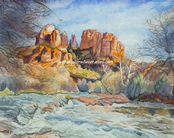 Framed Original Oak Creek Canyon in Arizona Watercolor Painting. Southwestern Country Decor. Landscape painting. Watercolor landscape.