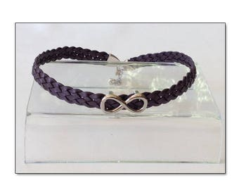 BDSM Day Collar, BDSM Collar, Submissive Collar, Discreet Day Collar, Slave Collar, Purple Leather BDSM Infinity Collar Choker