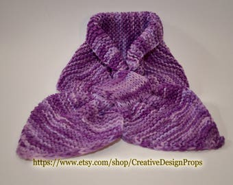 Knit Purple Ascot Scarf - Pull Through Keyhole Stay Put Popular Ascot Short Scarf Top Trend Christmas Gift Winter wear Men Women