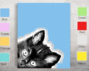 Cute Cat Kitty Kitten Portrait Glossy 8x10 Print of Ink & Watercolor Painting - Multiple Colors Available