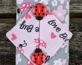 Kleenex Cover, Travel Tissue Holder, Pocket Tissue Cover, Ladybugs, Love Bugs