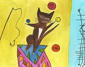 Paul Klee's cats.  Original watercolor by Vivienne Strauss.