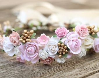 Bridal Flower Crown Blush and Champagne Wedding Hair Crown Gold - Wedding Crown -  White Bridal Floral Halo - Flower Girl Crown - Greenery