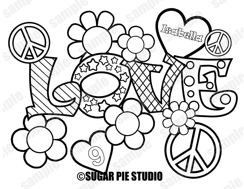 Paz amor para colorear página actividad Favor fiesta de