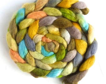 BFL Wool Roving - Hand Painted Spinning or Felting Fiber, Pale Meadow